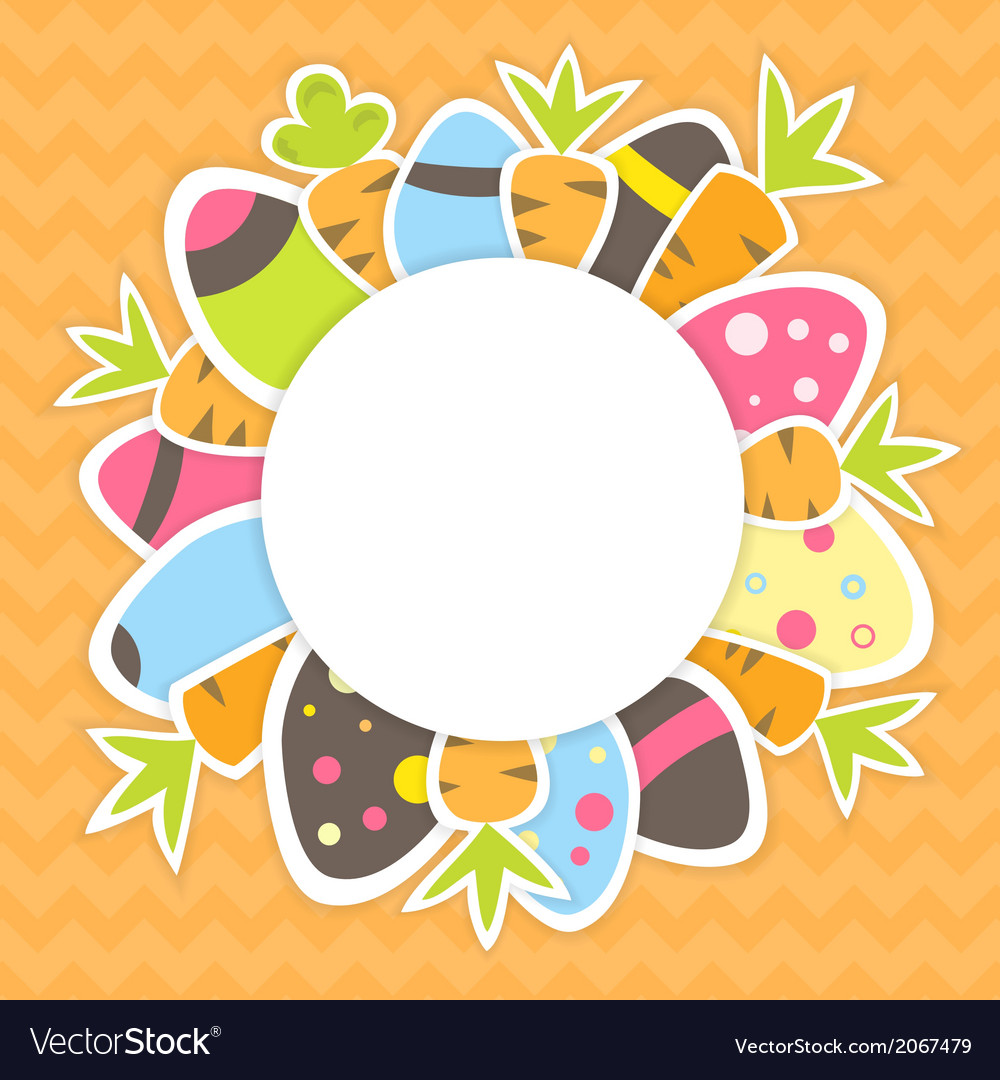 Easter carrots and eggs pattern on a orange vector | Price: 1 Credit (USD $1)