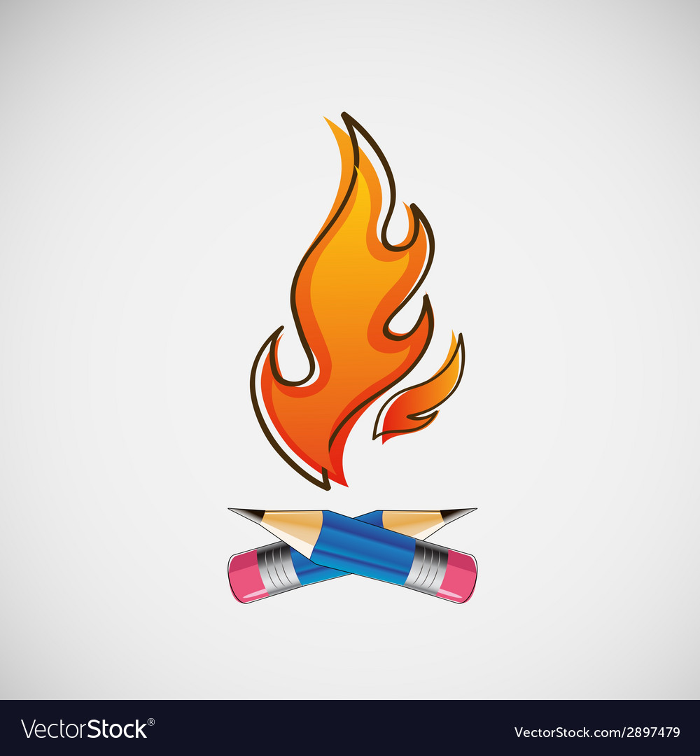 The fire which burn pencils design vector | Price: 1 Credit (USD $1)