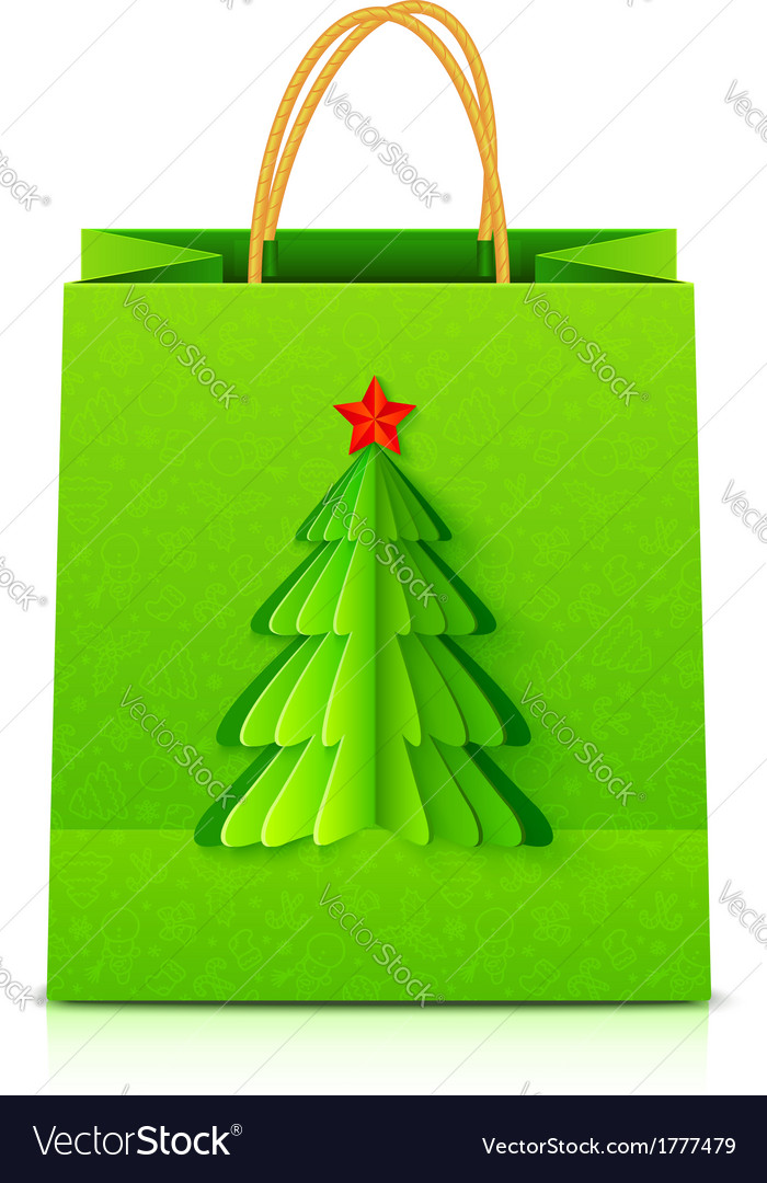 Green christmas paper bag with fir tree vector | Price: 1 Credit (USD $1)