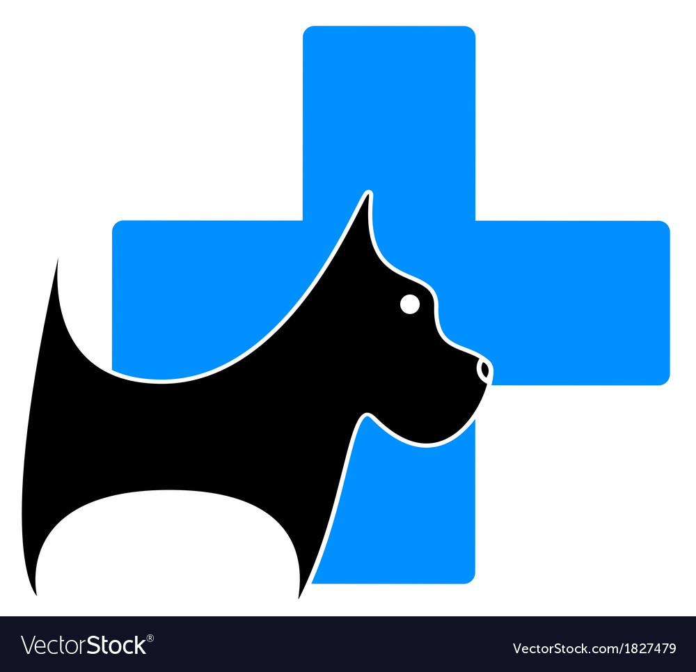 Icon with dog and blue medical cross vector | Price: 1 Credit (USD $1)