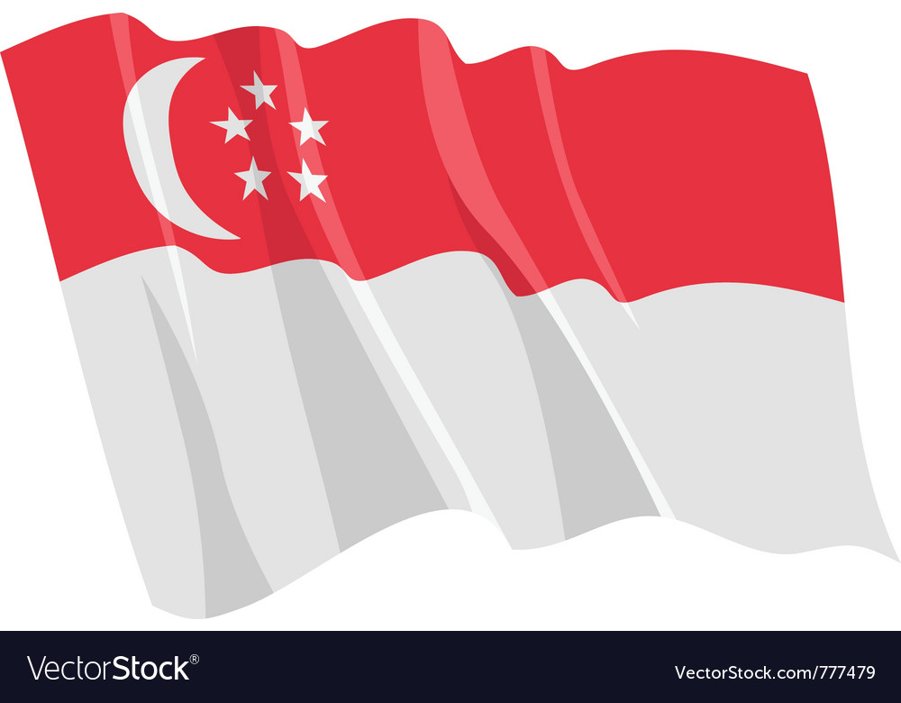 Political waving flag of singapore vector | Price: 1 Credit (USD $1)