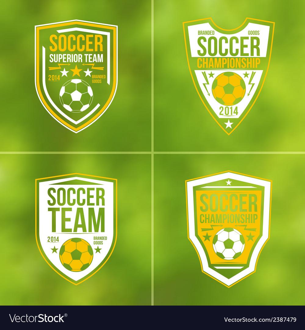 Set of soccer championship flat emblems vector | Price: 1 Credit (USD $1)