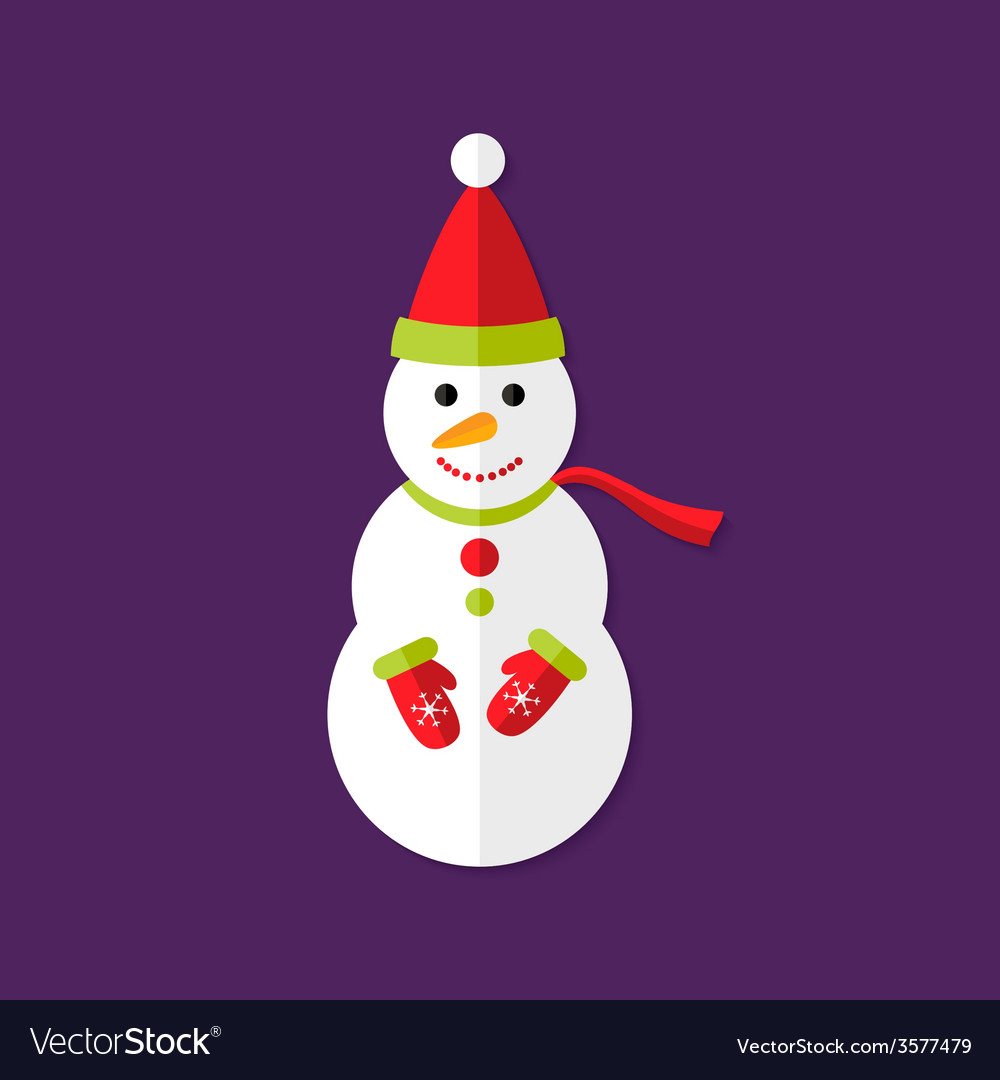 Snowman with santa hat christmas flat icon vector | Price: 1 Credit (USD $1)