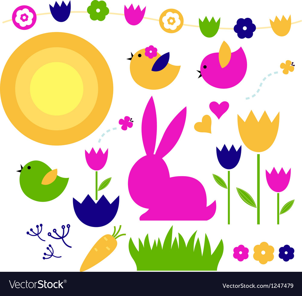 Spring and easter elements set isolated on white vector | Price: 1 Credit (USD $1)