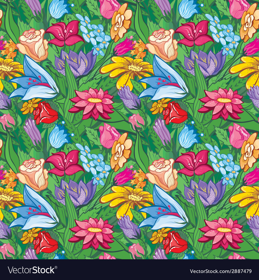 Vintage bright floral pattern vector | Price: 1 Credit (USD $1)
