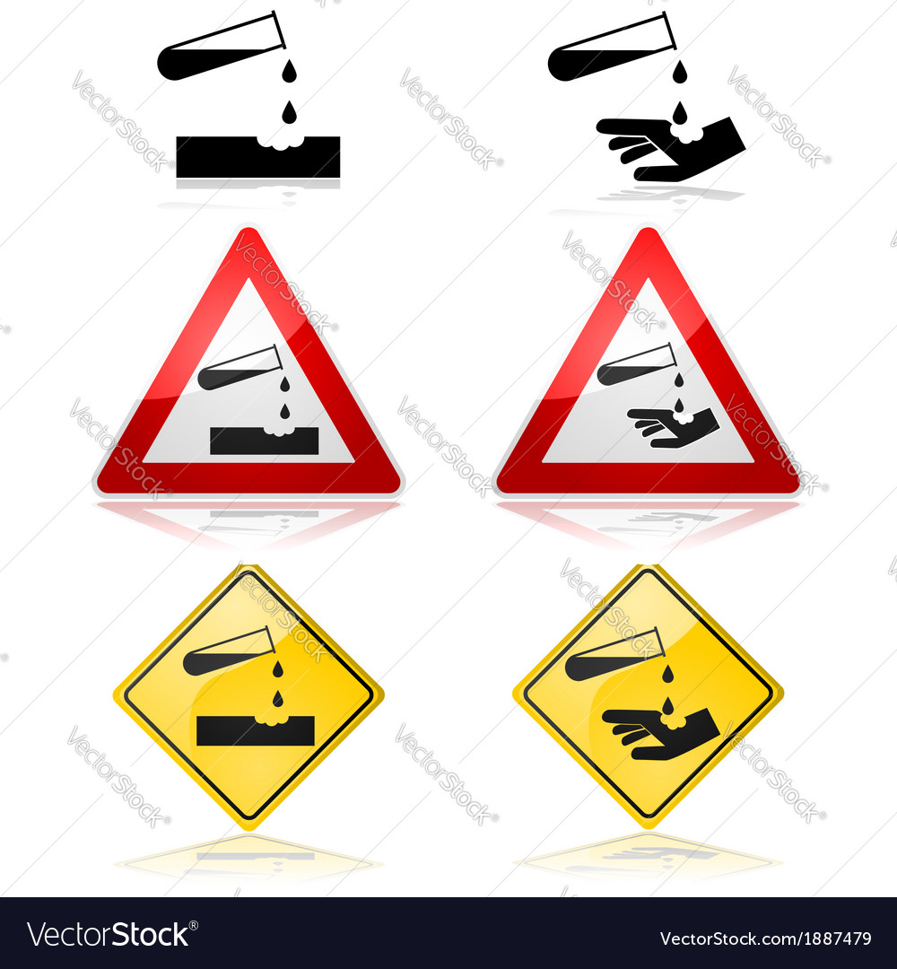 Warning for corrosive substances vector   Price: 1 Credit (USD $1)