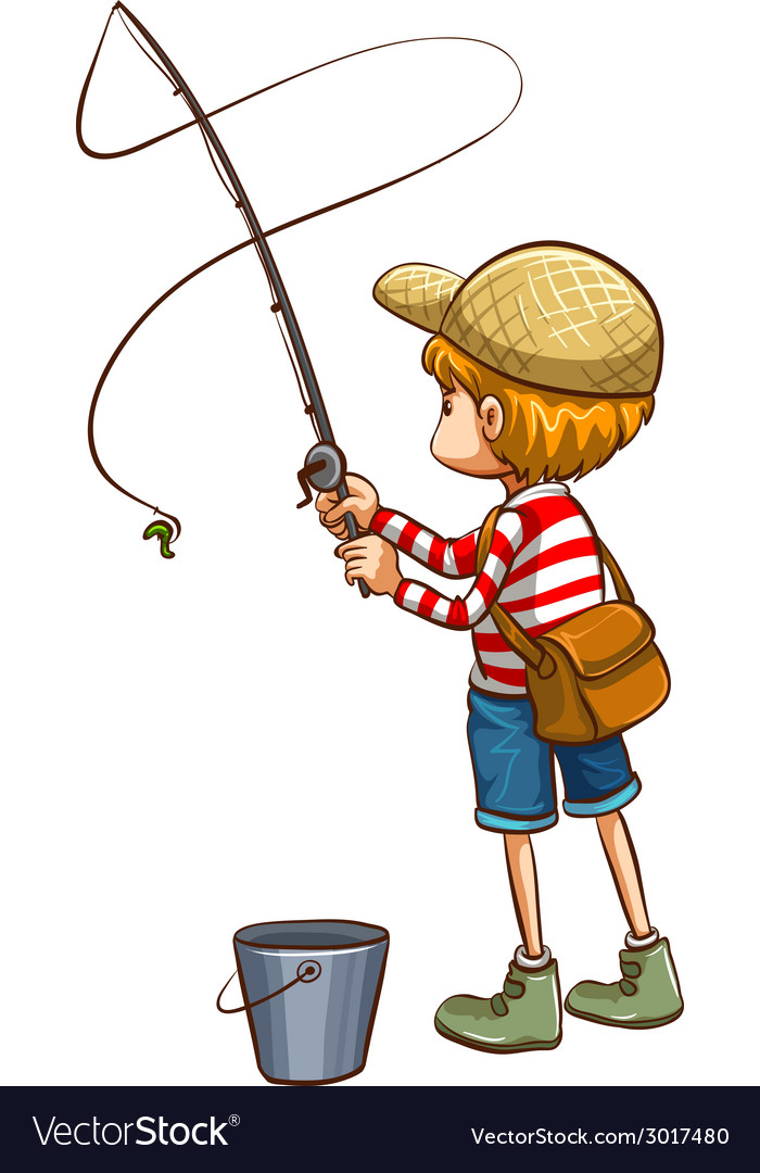 A simple sketch of a young boy fishing vector | Price: 1 Credit (USD $1)