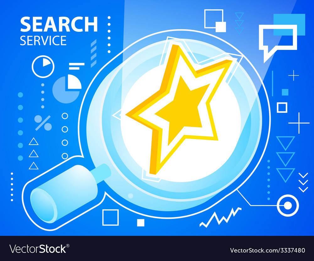 Bright star and search glass on blue backgro vector | Price: 3 Credit (USD $3)