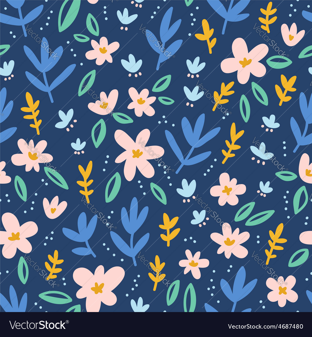Colorful flowers on deep blue background seamless vector | Price: 1 Credit (USD $1)