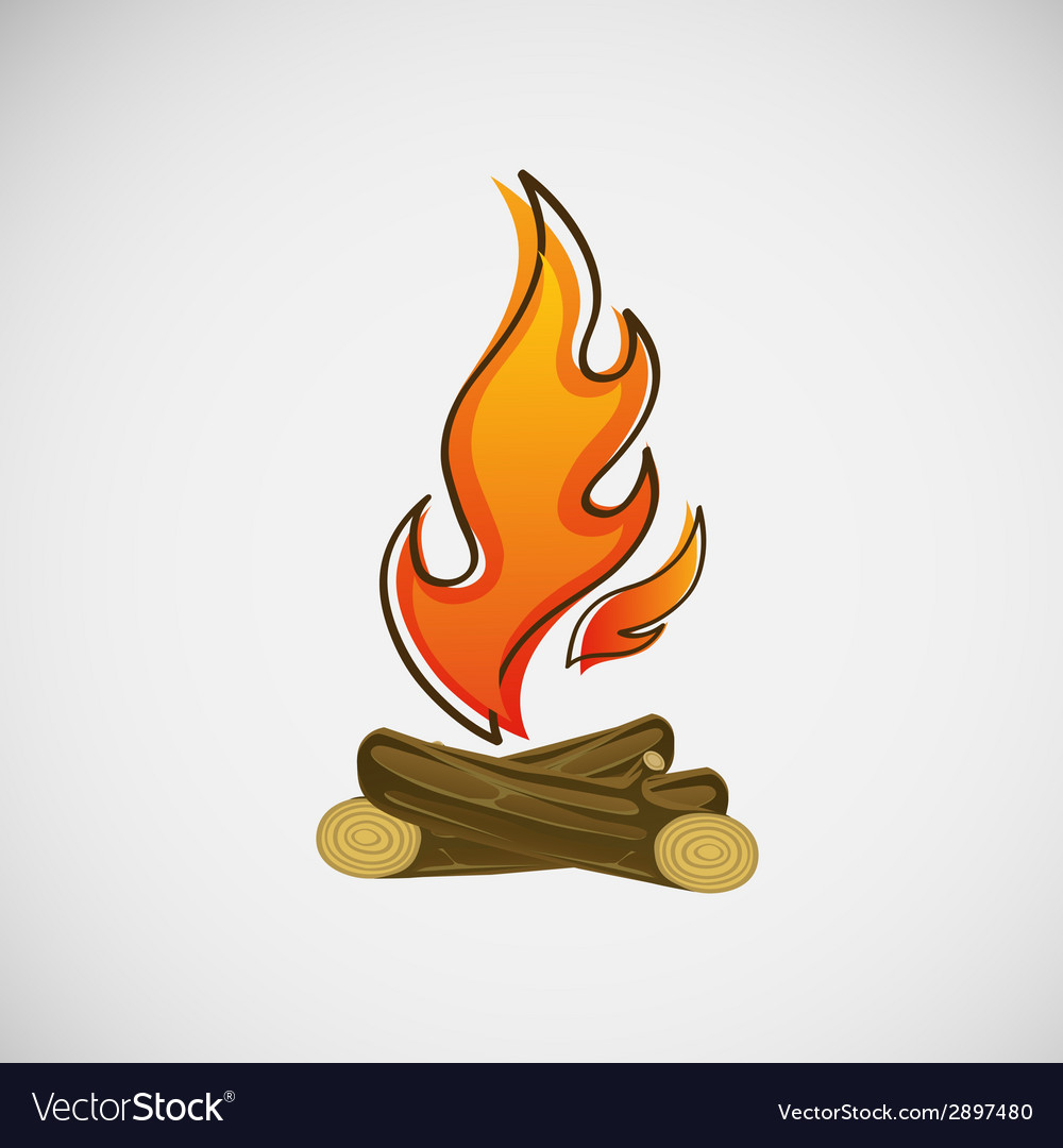 Fire burning on the wood design vector | Price: 1 Credit (USD $1)