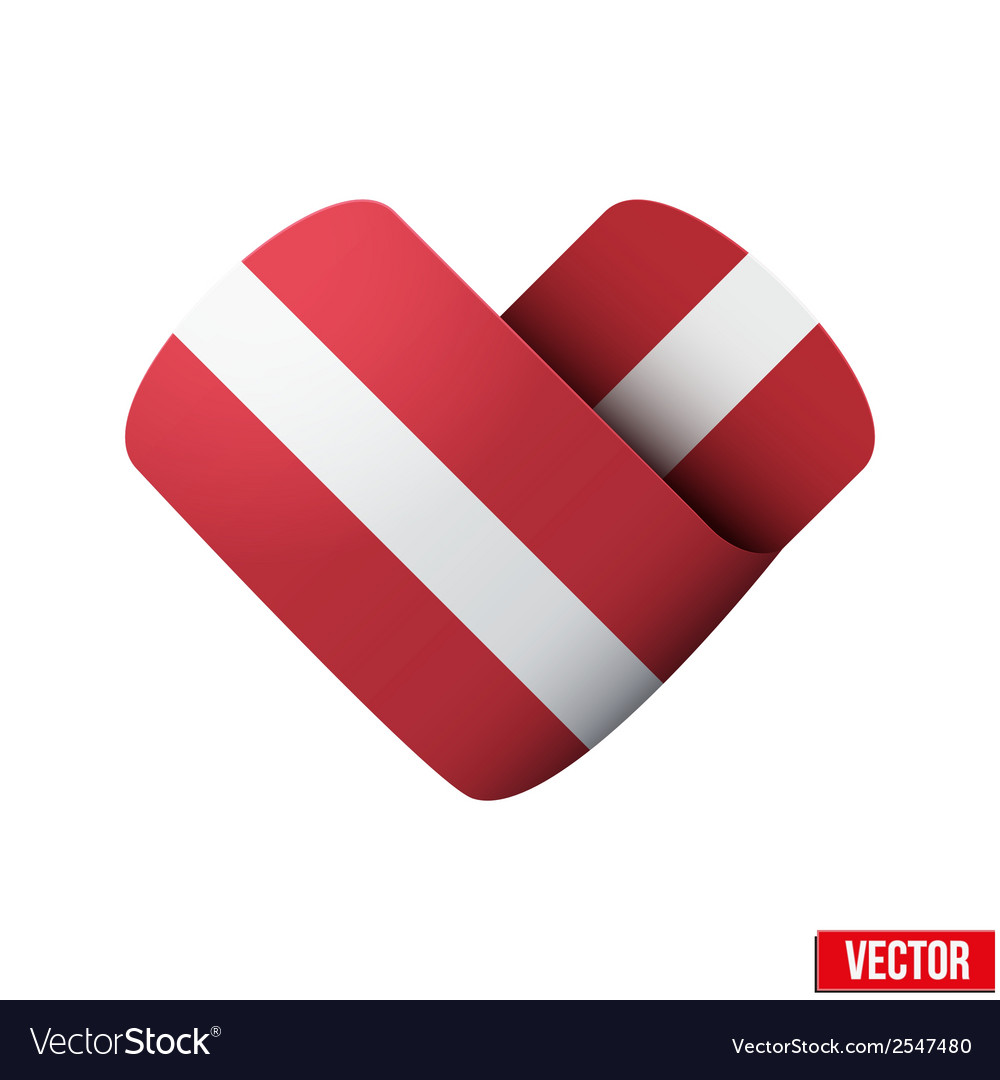 Flag icon in the form of heart i love latvia vector | Price: 1 Credit (USD $1)