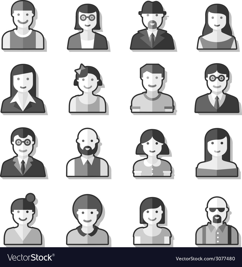 Flat avatar icons faces people vector | Price: 1 Credit (USD $1)