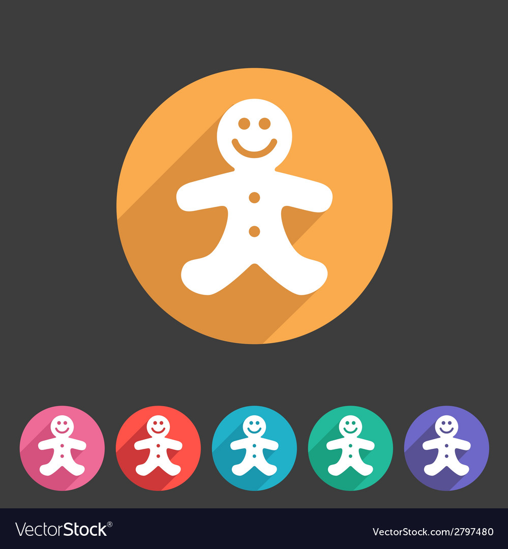 Gingerbread man christmas flat icon vector | Price: 1 Credit (USD $1)