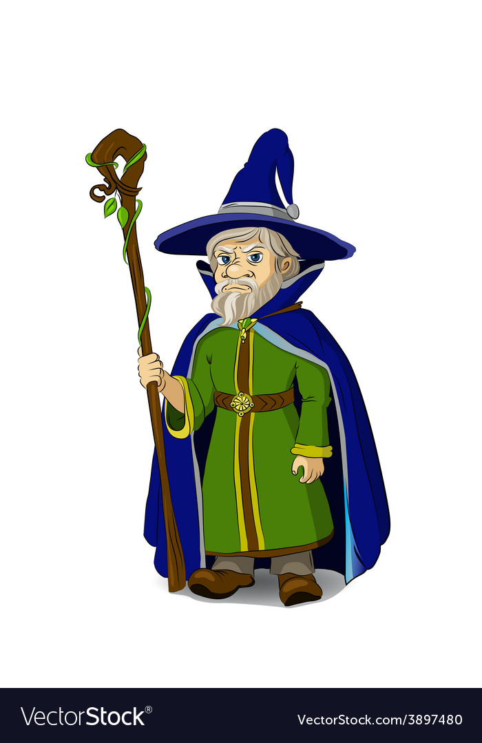 Gloomy cartoon wizard vector | Price: 1 Credit (USD $1)