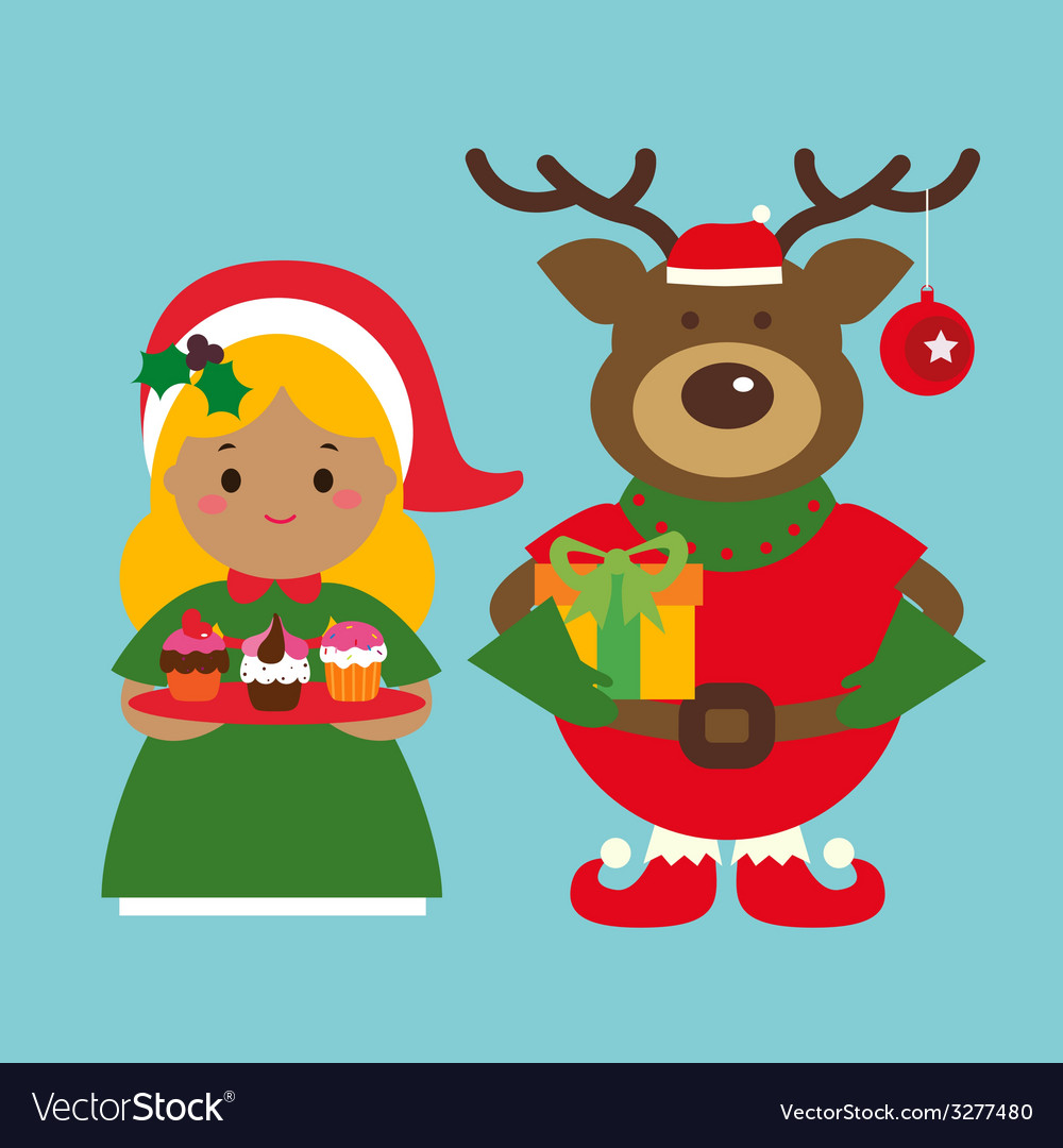 Holiday characters deer and little girl with cakes vector | Price: 1 Credit (USD $1)
