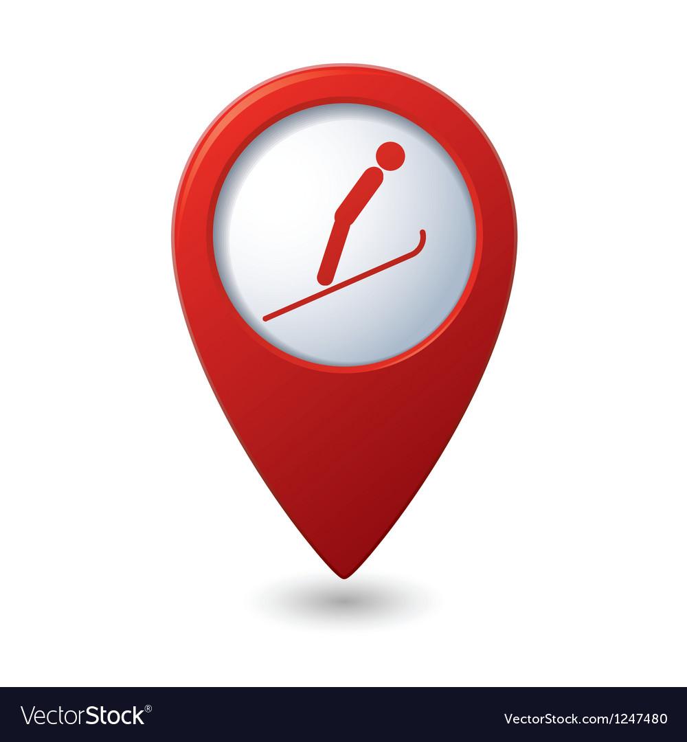 Map pointer with ski springboard icon vector | Price: 1 Credit (USD $1)