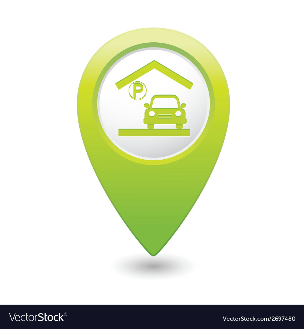 Parking under roof icon map pointer green vector | Price: 1 Credit (USD $1)