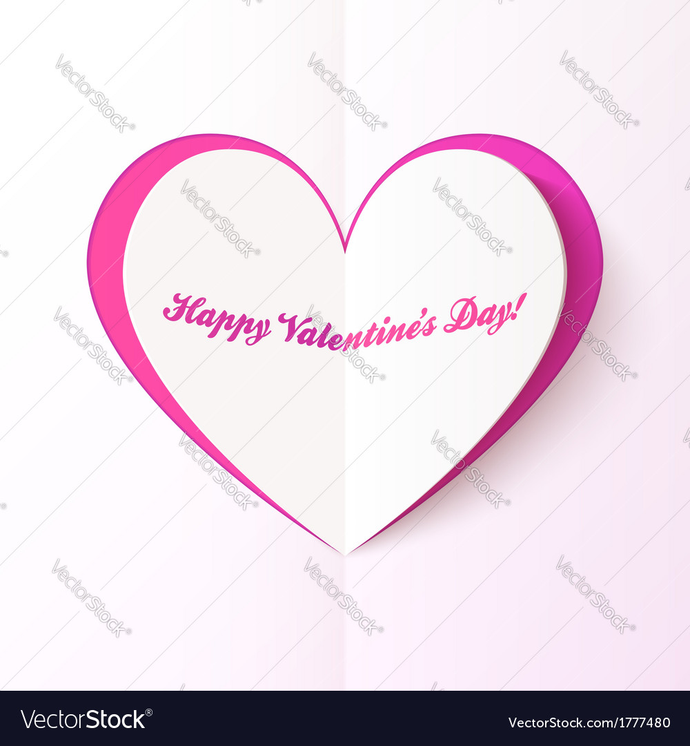 Pink cutout heart valentines day greeting card vector | Price: 1 Credit (USD $1)
