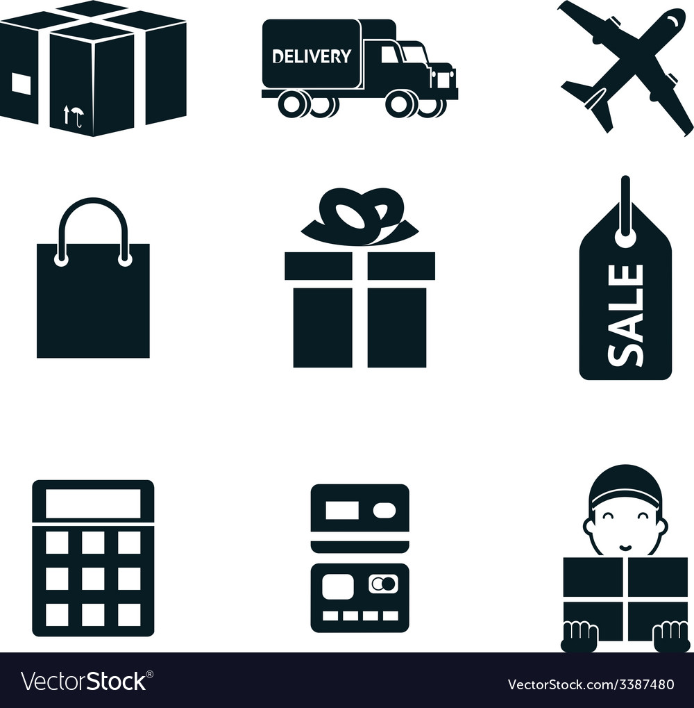 Shopping and shipping isolated icons set vector | Price: 1 Credit (USD $1)