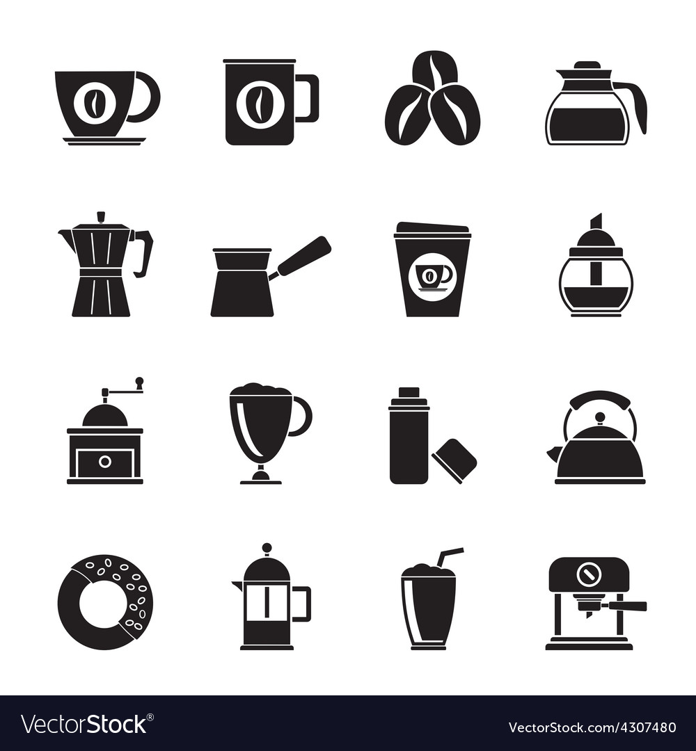 Silhouette different types of coffee industry icon vector | Price: 1 Credit (USD $1)