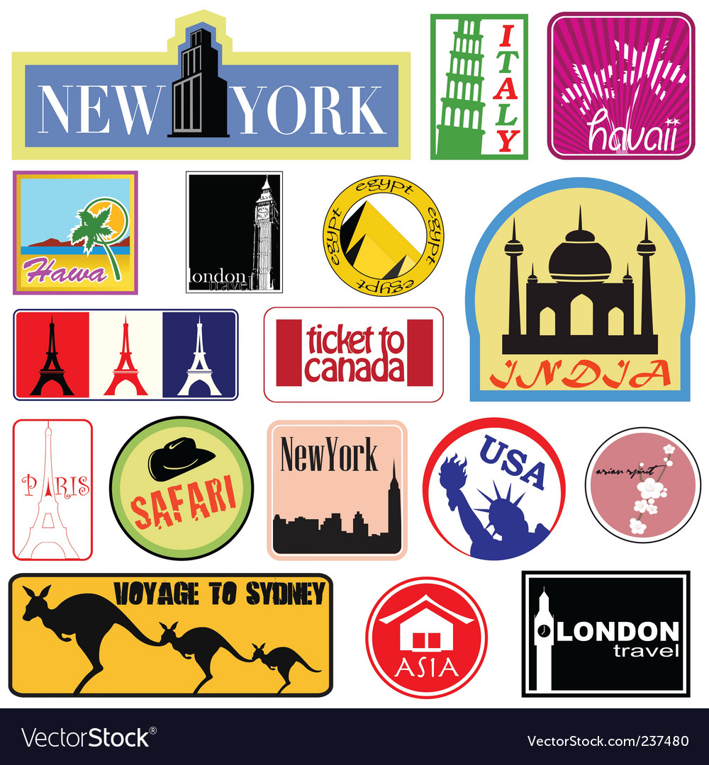 Travel label set vector | Price: 1 Credit (USD $1)