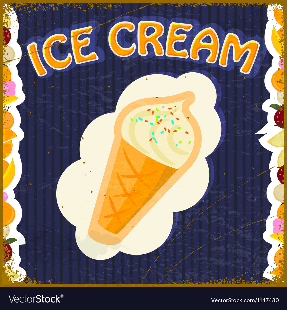 Vintage background with the image of ice cream vector   Price: 1 Credit (USD $1)