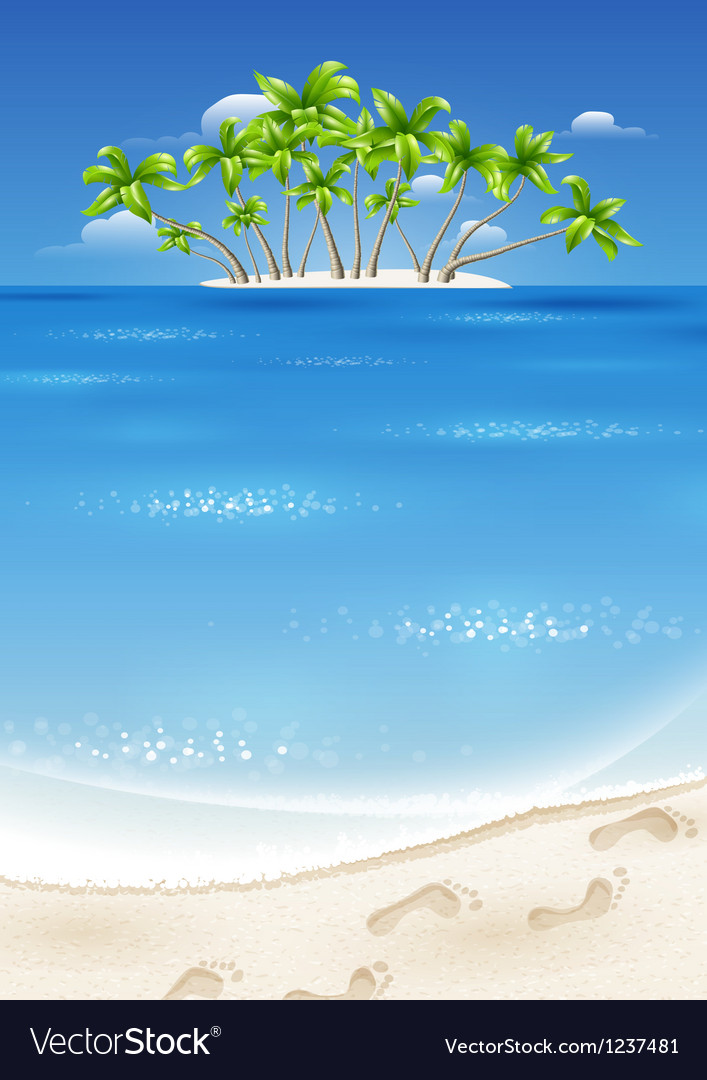 An island in the tropics vector | Price: 3 Credit (USD $3)