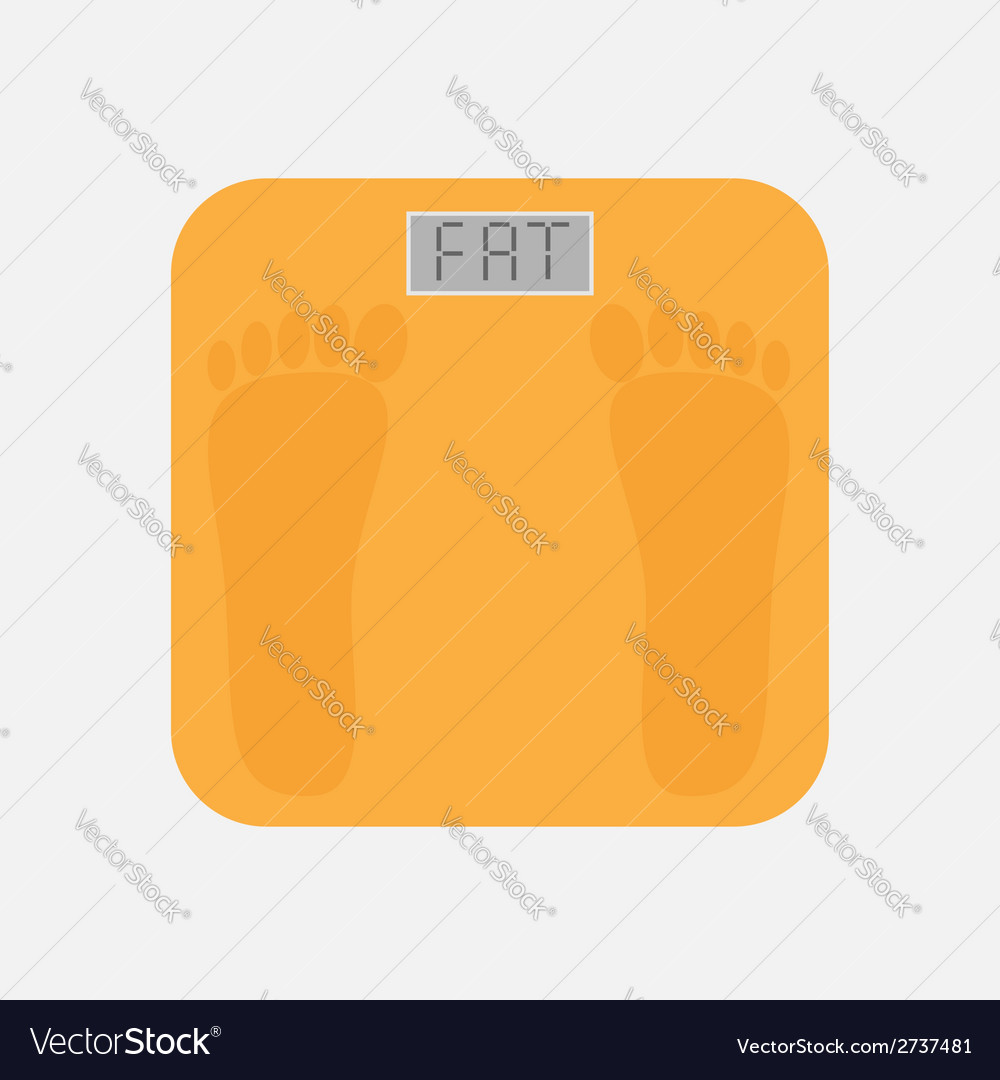 Bathroom floor electronic weight scale word fat vector | Price: 1 Credit (USD $1)