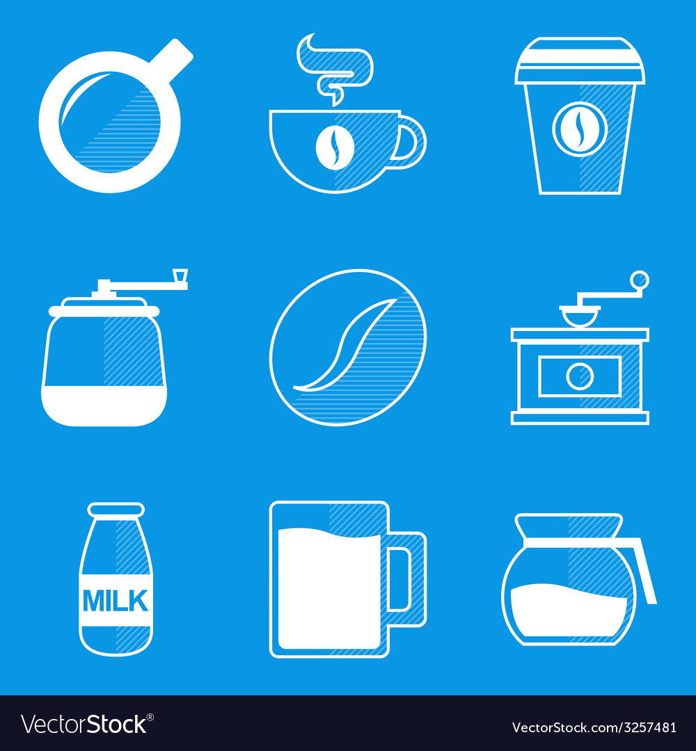 Blueprint icon set coffee vector | Price: 1 Credit (USD $1)