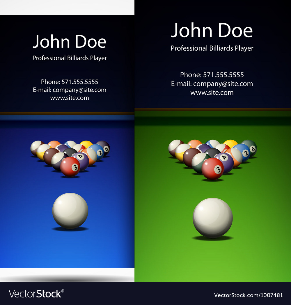 Business card professional billiards player vector | Price: 1 Credit (USD $1)