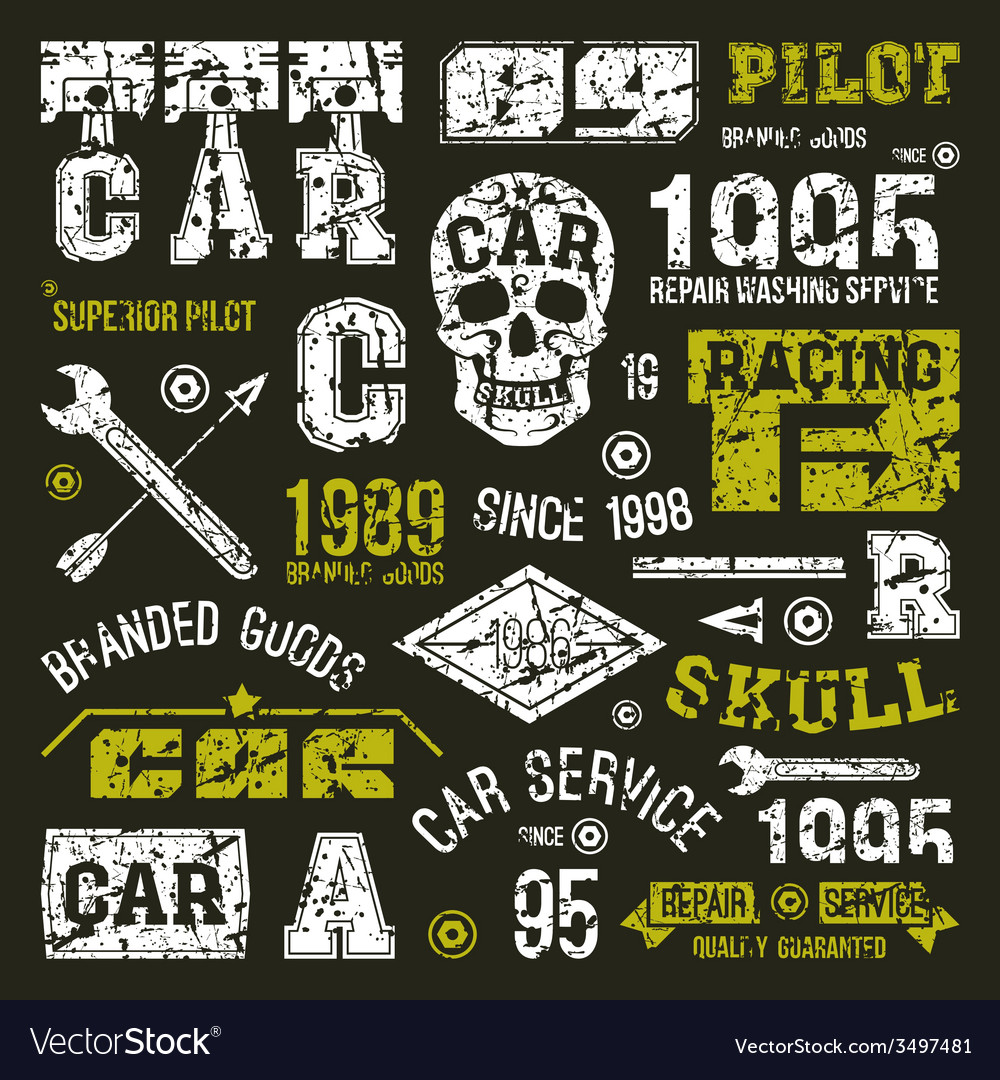 Car races and service badges vector | Price: 1 Credit (USD $1)