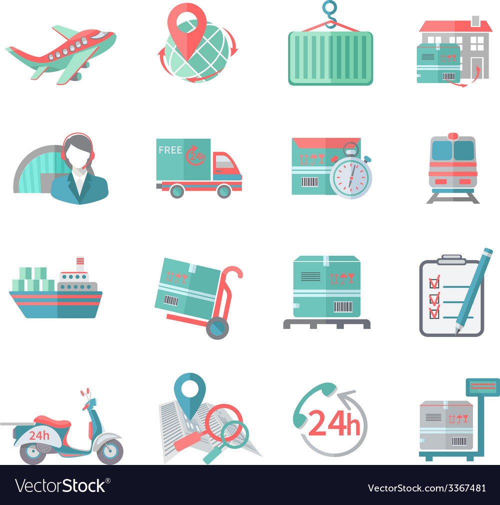 Logistic icons set flat vector | Price: 1 Credit (USD $1)