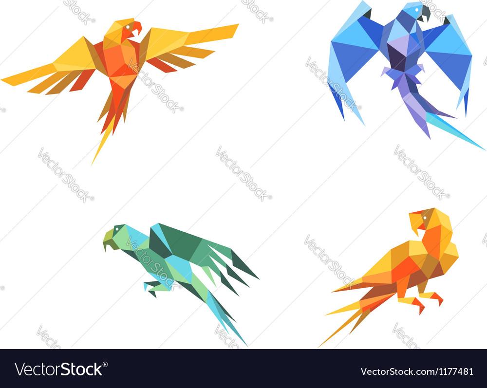Origami parrots vector | Price: 1 Credit (USD $1)