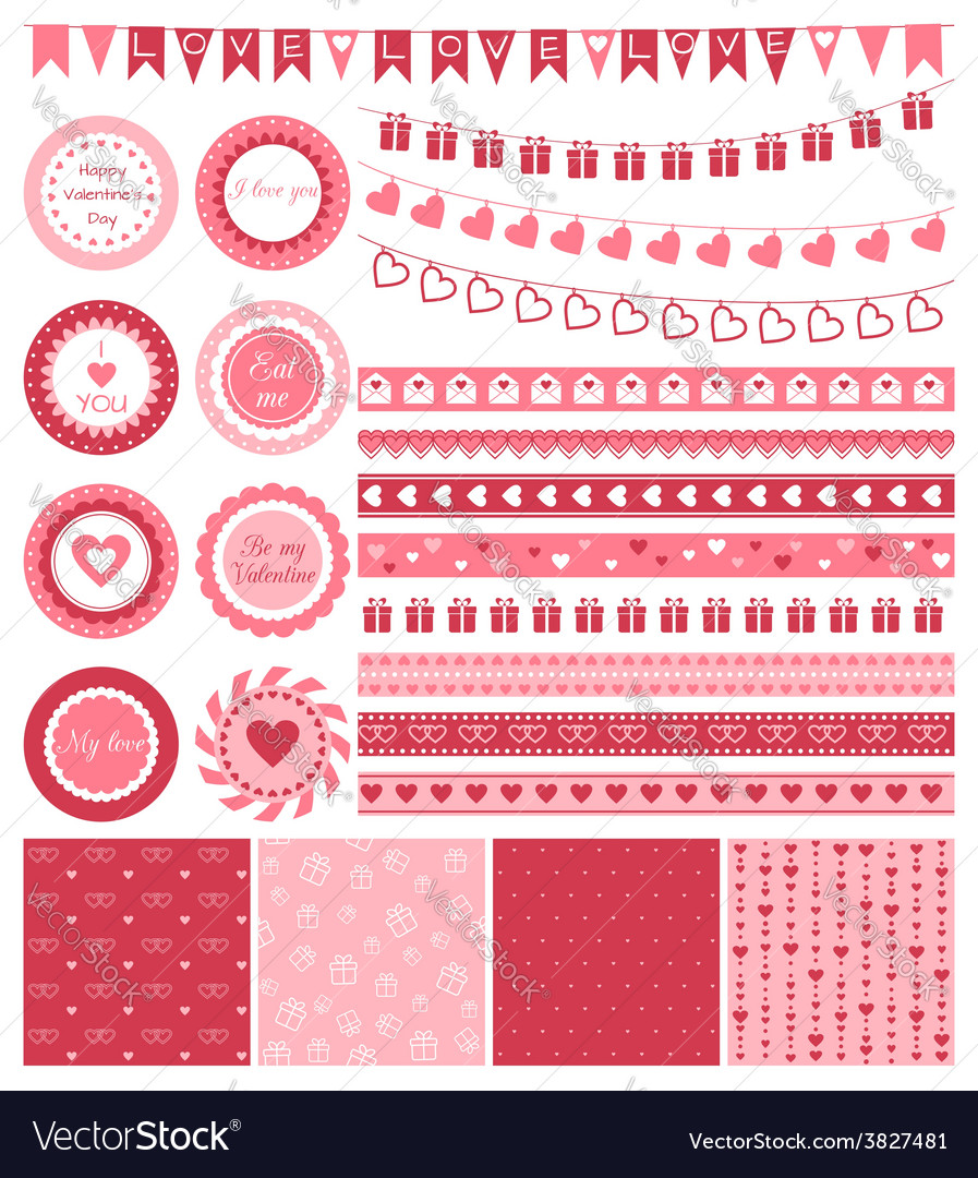 Set of design elements for valentines day or vector | Price: 1 Credit (USD $1)