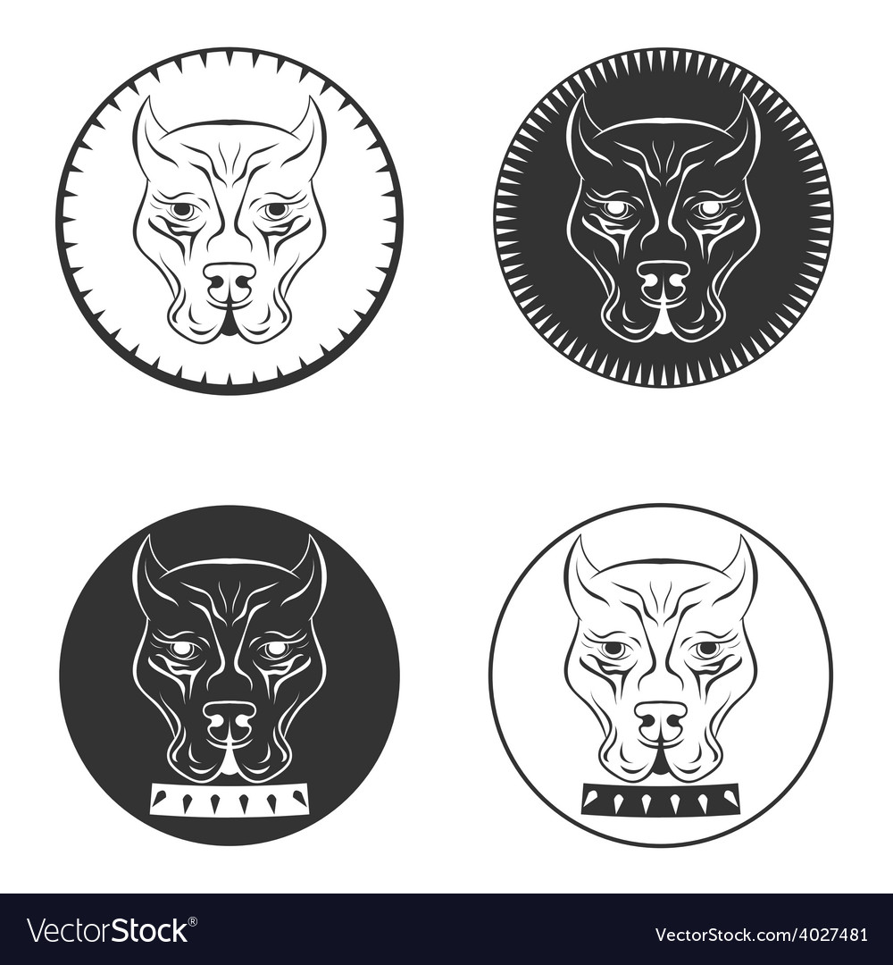 Set pit bull terrier logo dod face with collar vector | Price: 1 Credit (USD $1)