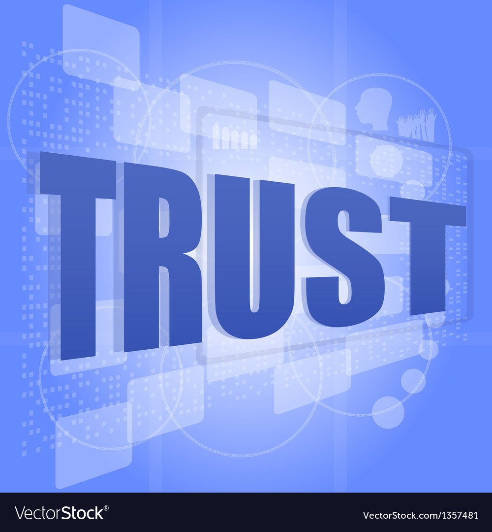 Words trust on digital screen social concept vector | Price: 1 Credit (USD $1)