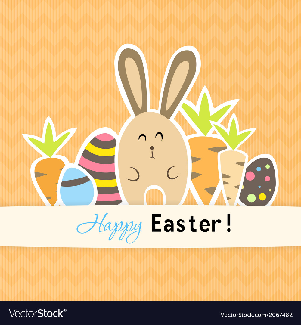 Easter colorful orange card with carrots and vector | Price: 1 Credit (USD $1)