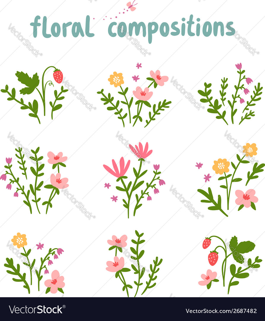 Floral compositions collection vector | Price: 1 Credit (USD $1)