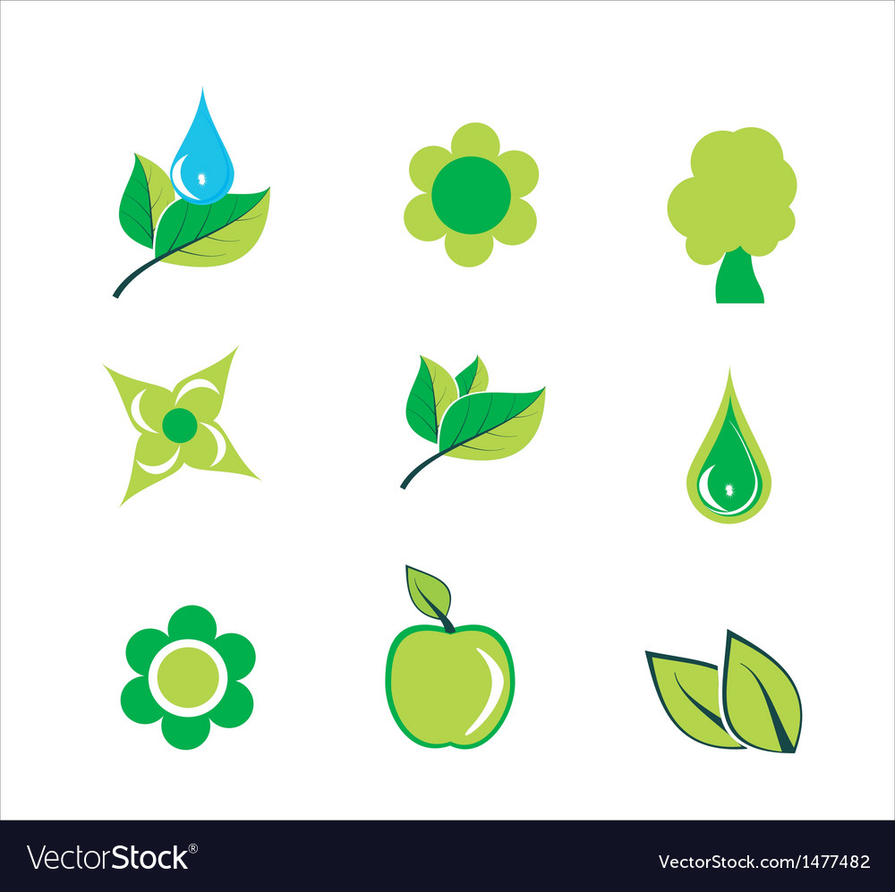 Floral icons green leaves tree apple flower vector | Price: 1 Credit (USD $1)
