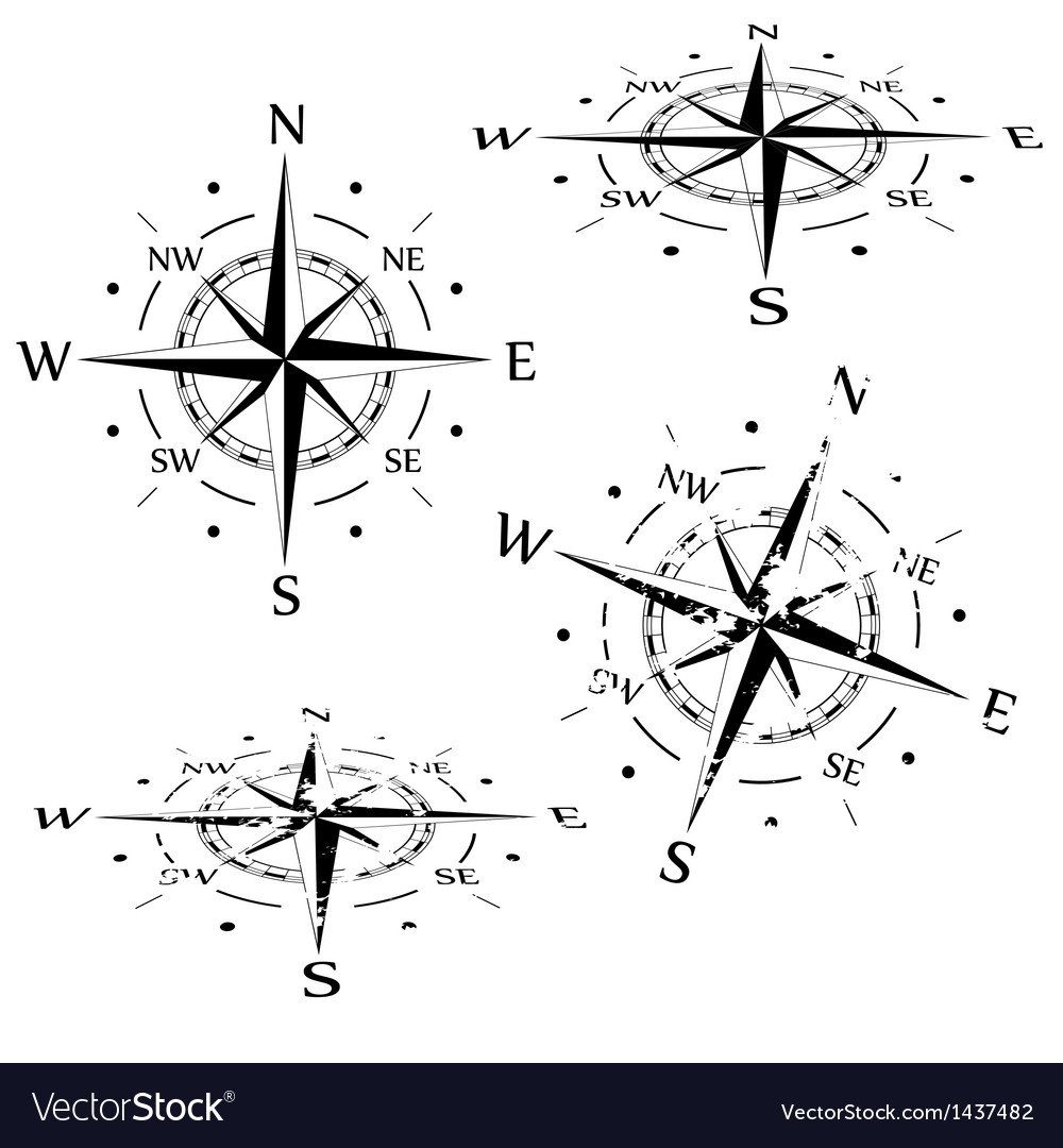 Grunge compass set vector | Price: 1 Credit (USD $1)