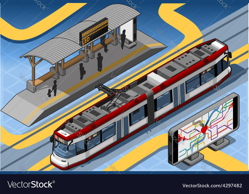 Isometric subway near platform roof and vector | Price: 3 Credit (USD $3)