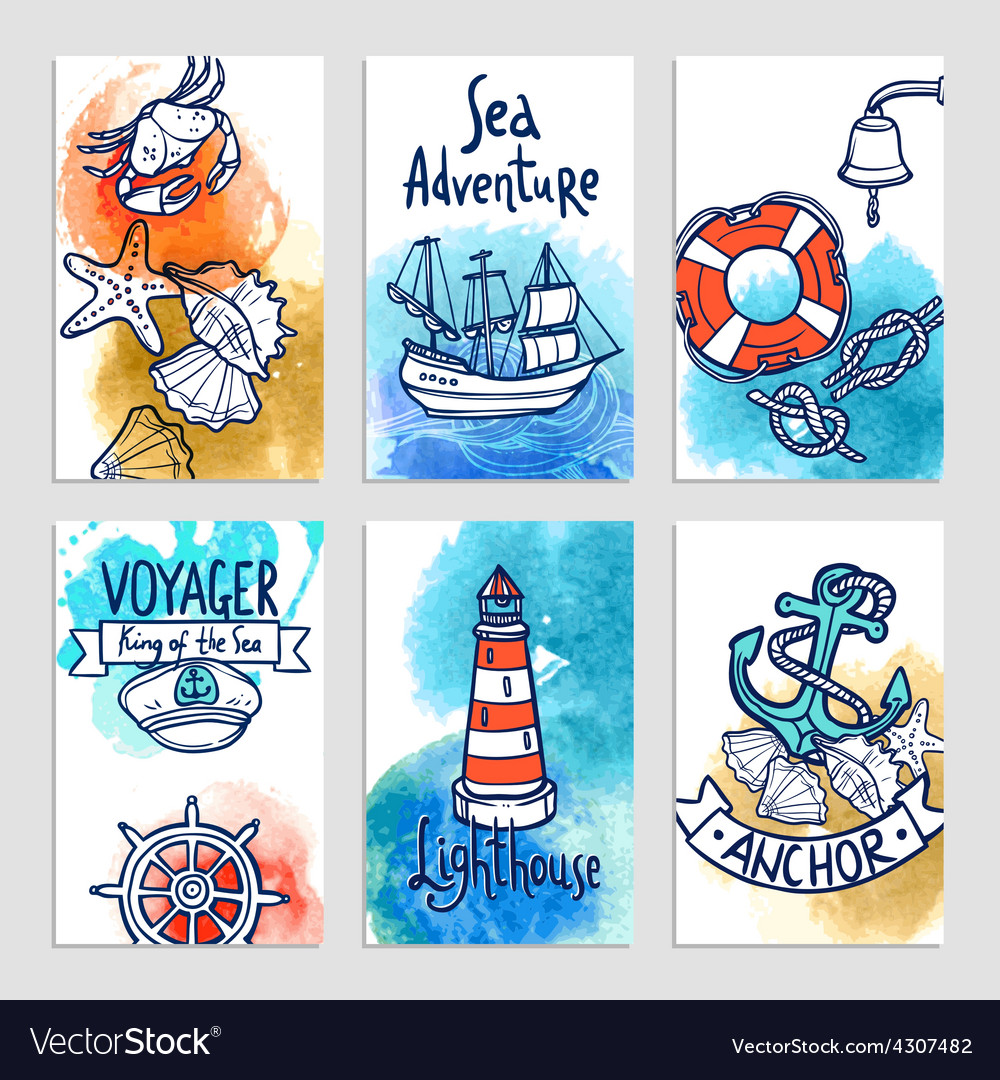 Nautical cards set vector | Price: 1 Credit (USD $1)