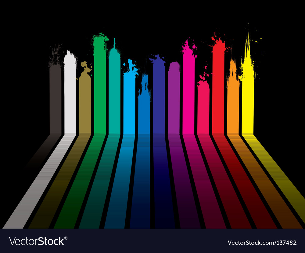 Rainbow paint dribble black vector | Price: 1 Credit (USD $1)