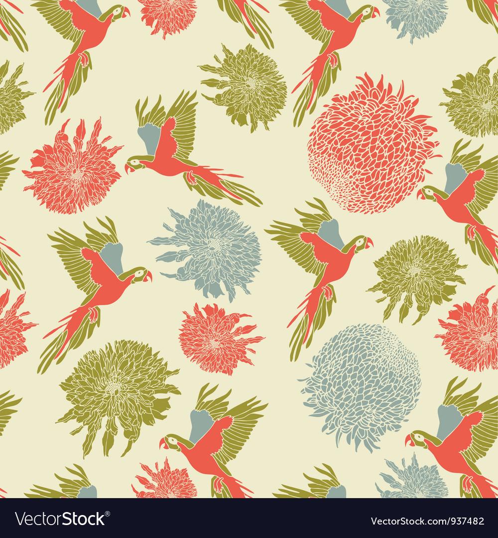 Retro parrot pattern vector | Price: 1 Credit (USD $1)