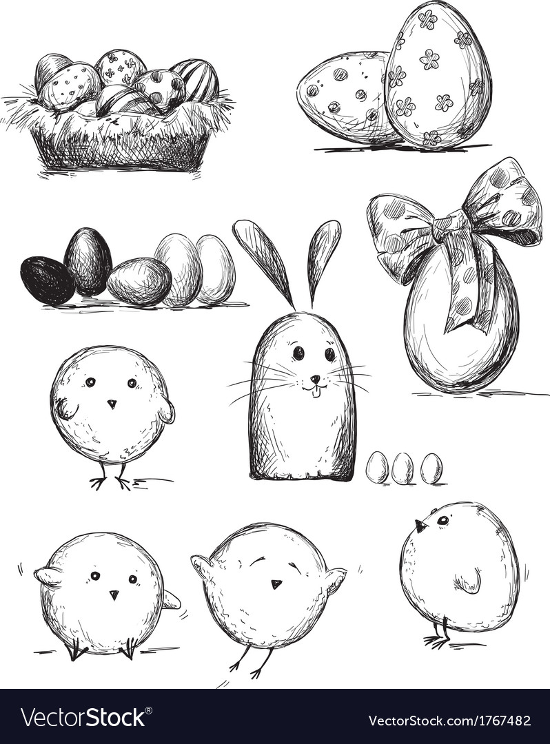 Selection of easter drawings vector | Price: 1 Credit (USD $1)