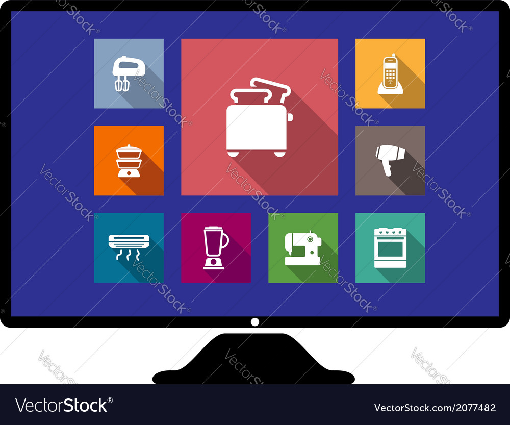Set of flat home appliances icons on a monitor vector | Price: 1 Credit (USD $1)