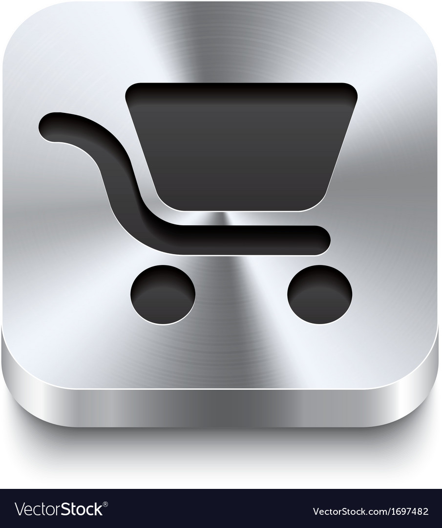 Square metal button - shopping cart icon vector | Price: 1 Credit (USD $1)