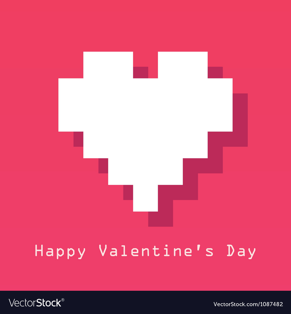 Valentines day card with pixelated heart vector | Price: 1 Credit (USD $1)