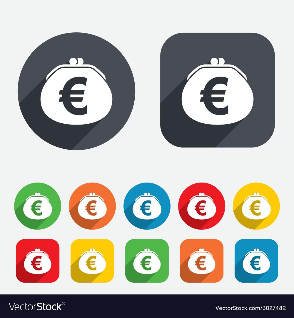 Wallet euro sign icon cash bag symbol vector | Price: 1 Credit (USD $1)