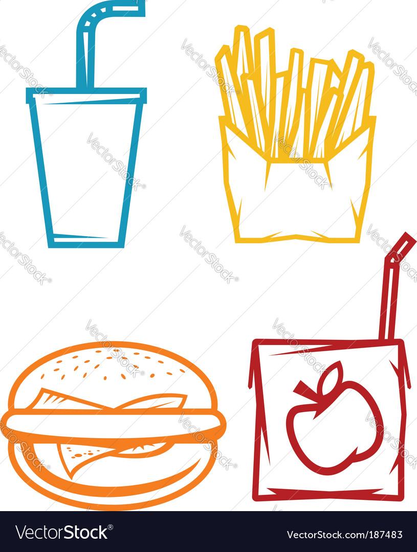 Fast food symbols vector | Price: 1 Credit (USD $1)